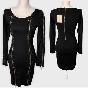 Black Zip-Up Sheath Dress